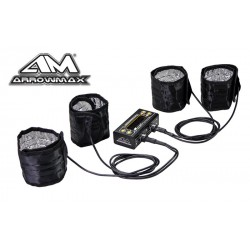 Arrowmax Tyre Warmer (1/8th) & Batt Warmer With Bag Black Golden